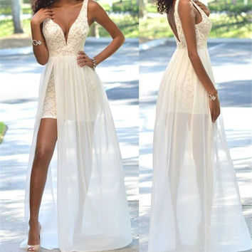 V-Neck White Sleeveless A-Line Prom Dresses