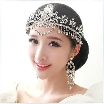 Design Flower Handmade Headbands Wedding Bridal Crystal Hair Jewelry