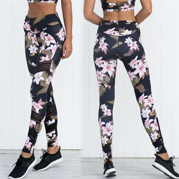 2017 New Floral Printed Sporting Leggings Women Fitness Elastic Workout Pants Activewear Skinny Leggins Trousers Push Up Pants