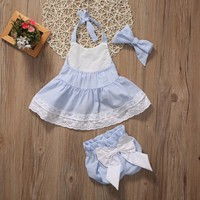 Blue Bowknot Baby Dress and Bloomers Set