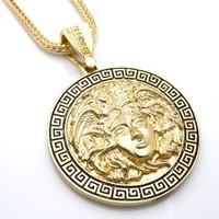 "Chris Brown's Hip-Hop Bling Medusa Head Gold Tone 2 Chainz Pendant with Free 36"" chain (2)"