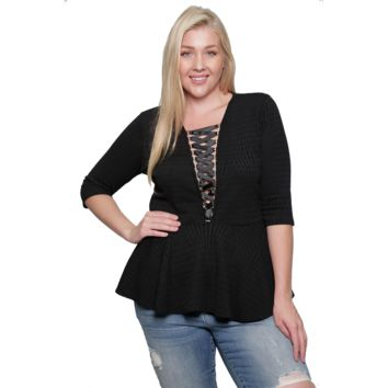 Plus Size Peplum Blouse With Plunging Corset Made in USA XL 1X 2XBLACK (XL)