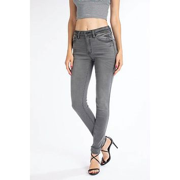 Kan Can Mid Rise Skinny Jean - Light Gray