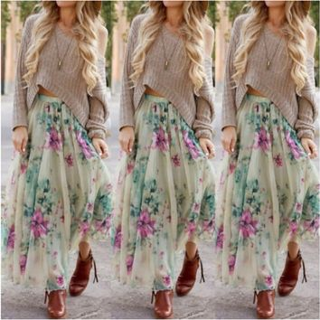 NEW  Fashion HOT SALE   Womens Floral Jersey Gypsy Long Maxi Full Skirt Summer Beach Sun Dress NEW