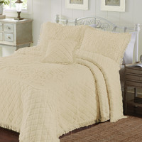 Queen size Chenille 100-percent Cotton Bed Spread in Reed Yellow with Retro Fringe Edges