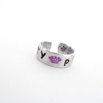Katy Perry Hand Stamped Ring with Crown and Stars Adjustable Inspired by Katy Perry Music Customizable
