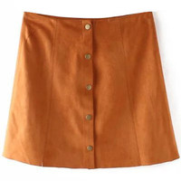 Brown High Waisted Suede Skirt