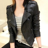 Sexy women leather Jacket Coat Slim Short Paragraph diagonal Zipper outerwear coats new  autumn motorcycle jacket