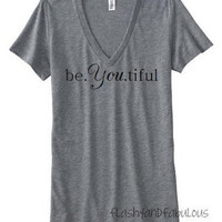 Womens Vneck Tshirt in Grey
