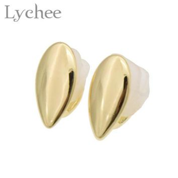 ac PEAPO2Q Lychee Hippop 1 pair Fang Single Teeth Cap Gold Silver Color Canine Custom Tooth Grills Fangs Dracula Teeth Grill Jewelry