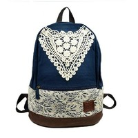 Girls Canvas School Backpack Navy Blue