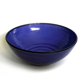 "Ceramic bowl, large bowl, 10"", blue bowl, serving bowl, handmade, high fired"