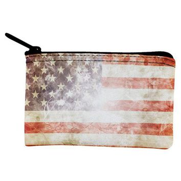 PEAPGQ9 4th of July American Flag Star Spangled Banner Coin Purse