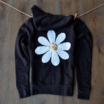 Sequin Daisy Patch Zip Up Hoodie Jumper