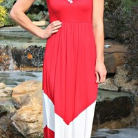 Chevron Maxi- Red & White