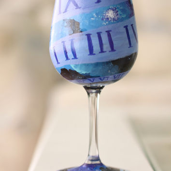 Doctor Who Wine Glass: Hand Painted Season 8 Themed Glass