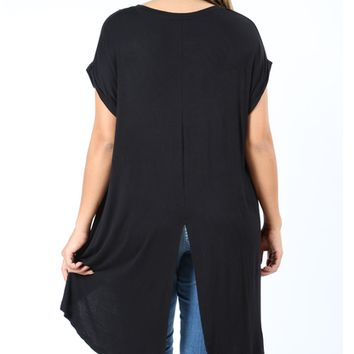 Women's Black Tunic Top Short Sleeve Back Split Asymmetric Hem: S/M/L