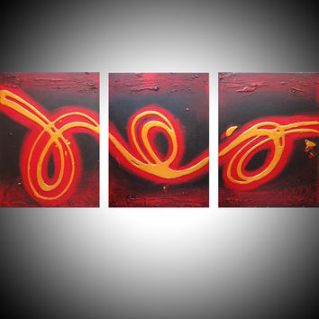abstract painting triptych wall art contemporary on canvas office texture abstract acrylic original 3 panel hanging modern sculpture