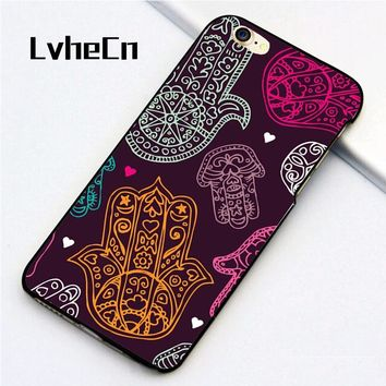 Hamsa Hands Yoga Om Style for iPhone 5 5S SE 6 6S 7 8 Plus X