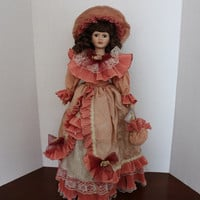 "Eleanor, Brunette Porcelain Doll, 22"" Vintage Limited Edition Victorian Danea Collection Dan & E.A., with Stand."