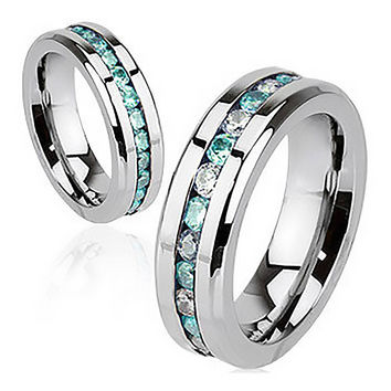 Aqua Paragon - Stainless Steel Ring with Embedded Aquamarine and Crystal Cubic Zirconias
