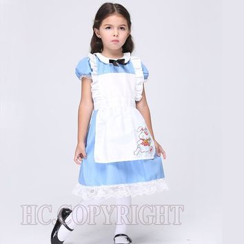 Alice In Wonderland White Apron Blue Dress Lolita Dresses Girls Maid Cosplay Child Fantasia Carnival Costumes For Children's Day