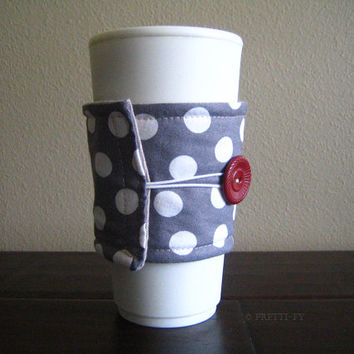 Polka Dot Fabric Coffee Cozy, Travel Cup Cozy, Reversible,Gray, White, Red,Handmade, Coffee Insulator, Pretty Cup, Polka Dots, Ready To Ship