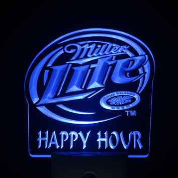 ws0198 Miller Lite Happy Hour Beer Day Night Sensor Led Night Light Sign
