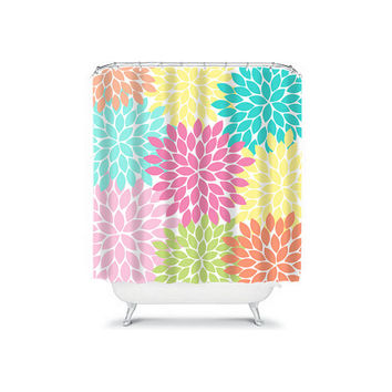 Shower Curtain CUSTOM You Choose Colors Pink Orange Lime Turquoise Flower Burst Dahlia Pattern Bathroom Bath Polyester Made in the USA