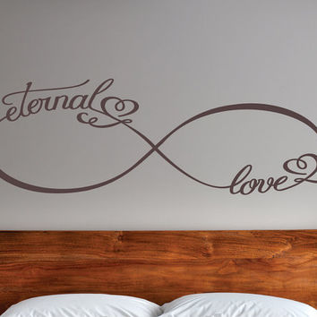 Infinity Eternal Love Decal, Couples Decals, Love Decor, Wedding Gifts, Bedroom Decals, Vinyl Wall Family Decor