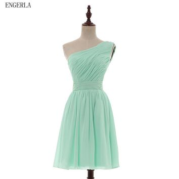 ENGERLA One Shoulder Pleated Chiffon Short Bridesmaid Dress Lace Up 2017 New Summer Wedding Party Dress Beach Dress