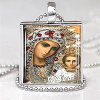 Virgin Mary Child Jesus Religious Glass Tile Pendant Necklace