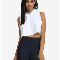 Sleeveless Fleece Hooded Crop Top