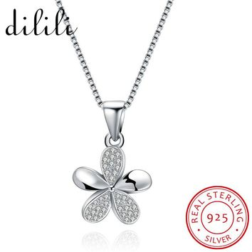 DILILI Fashion 925 Sterling Silver Necklaces & Pendants For Women Star Flower Friendship Chain Necklace Lights Femme Jewelry