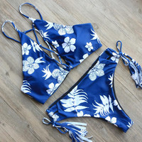 Floral Printed Swimwear Women High Neck Bikini Set Sexy Swimsuit