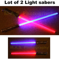 LOT OF 2 STAR WARS FX SOUND LIGHTSABER LIGHT SABER SWORD TOY BEST PRICE!!!