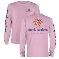 Simply Southern Preppy Christmas Turtle Pink Long Sleeve T-Shirt
