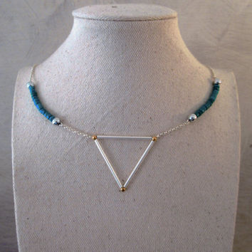 Turquoise Triangle Necklace, triangle silver necklace, geometric necklace