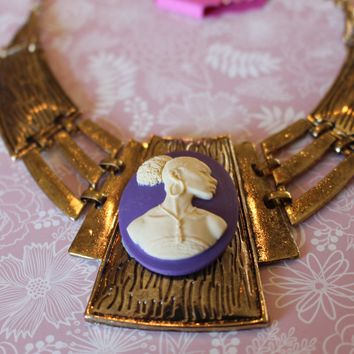 Vintage Cameo in Gold And Purple necklace/Free Shipping