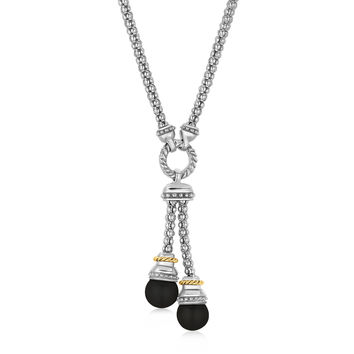 Black Onyx Lariat Popcorn Necklace in 18k Yellow Gold + Silver