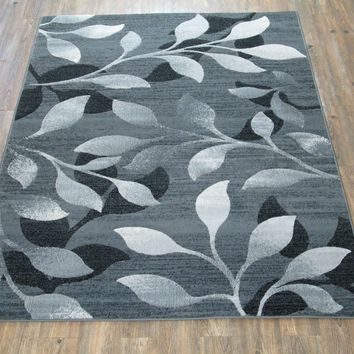 """Silver Grey Black Large Modern Faux Wool Area Rug Exact Size 5'4"""" X 7'5"""""""