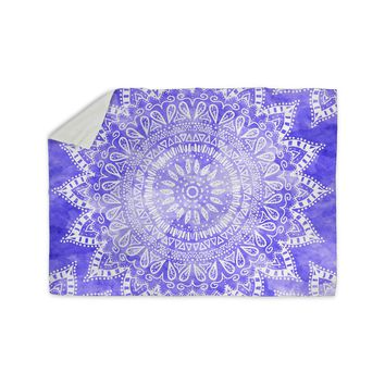 "Nika Martinez ""Boho Flower Mandala in Purple"" Lavender Sherpa Blanket"