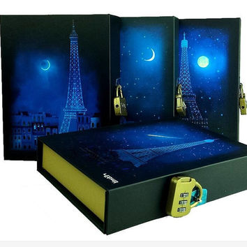 Noctilucous Dream Blue Moon Paris Delicate Diary With Lock Notebook Vintage Style Composition Book Hardcover Gifts Stationery