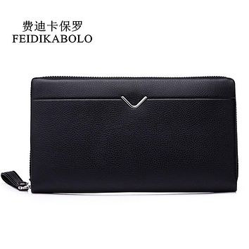 Men Leather Long Wallet Clutch Bag Men's Pruse Male Clutch Zipper Around Wallets Men Money Clip Wallet mltifunction