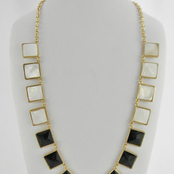 Long Statement Necklace - Squares of Black & Ivory Pearl Shells - Long Statement Necklace - Jewelry