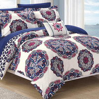 Mirabella 8PC Boho Reversible Sheet Comforter Bed SET