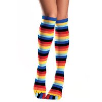 Be Wicked Rainbow Print Knee High Toe Socks