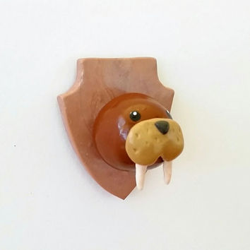 Walrus with Tusks Trophy Head Magnet or Brooch Pin - Handmade Faux Taxidermy Cute Kawaii Sea Marine Life from Polymer Clay