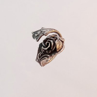 Floral ring sterling silver ring rose ring fashion jewelry best unusual jewelry with rose ornament floral jewelry