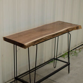 Live Edge Slab Hand Crafted Walnut Table with Vintage Hairpin Leg Base Custom Bar Cart